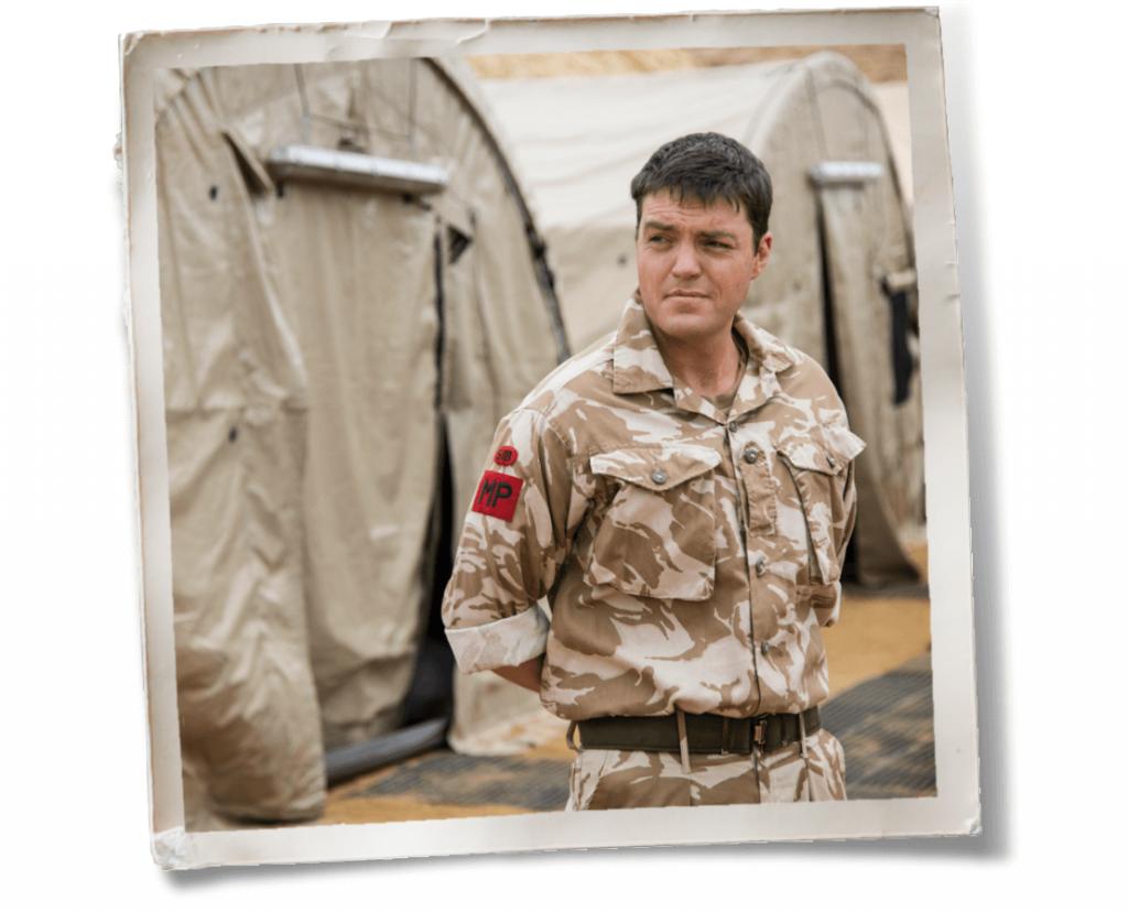 Cormoran Strike in army uniform