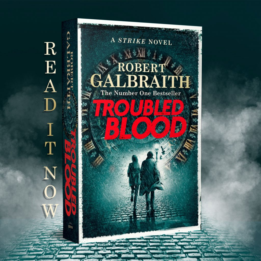 TROUBLED BLOOD spine out 45 paperback grid READ IT NOW